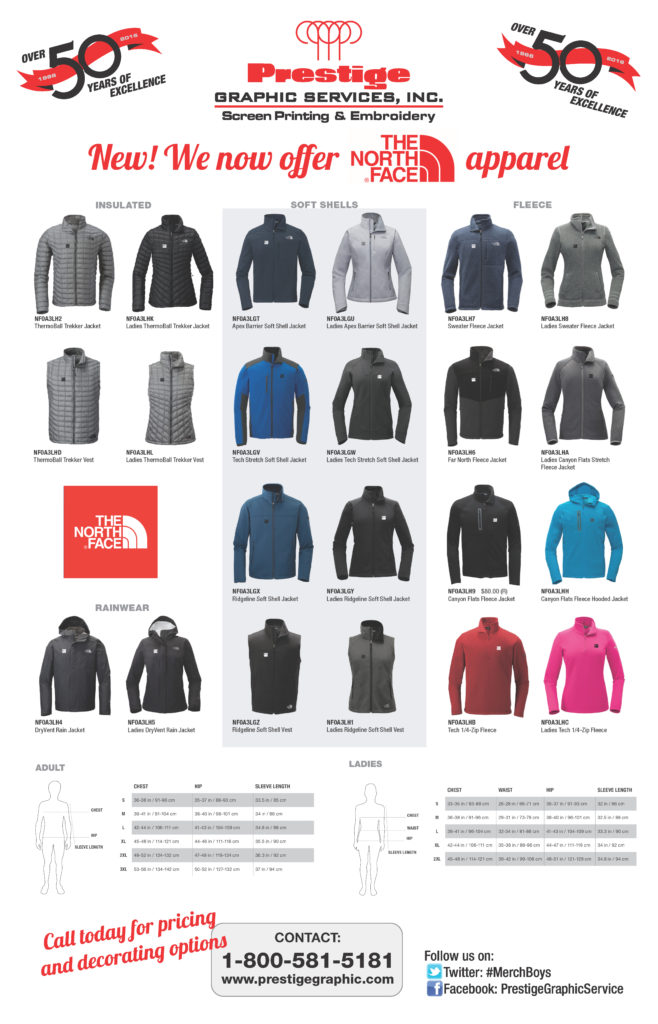 Northface Apparel Now Available At Prestige Graphic
